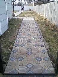 a backyard path that says