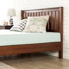 wood platform bed with headboard king size antique espresso finish