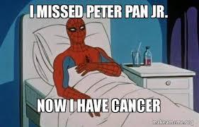 Peter Pan Meme - i missed peter pan jr now i have cancer spiderman cancer make a