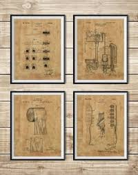 Bathroom Blueprint Bathroom Posters Group Of 4 Bathroom Wall Decor Bathroom Decor