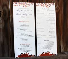 sided wedding programs purple orange brown fall leaves pumpkins all in one