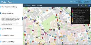 Street Map Of Boston by Vision Zero Boston Map Unites Visual Collection Of Maps Apps