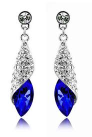 royal blue earrings jewellery diamond shine rhinestone royal blue drop