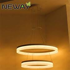 Drop Ceiling Light Fixture 2 Rings Modern Circle Led Pendant Suspended Ceiling Lighting