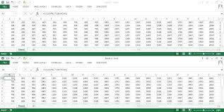 excel split view of sheet horizontally but viewing two separated