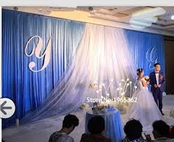 wedding backdrop blue 3x6m wedding backdrop royal blue with white sheer fabric swag
