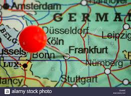 Map Of Frankfurt Germany by Close Up Of A Red Pushpin On A Map Of Frankfurt Germany Stock