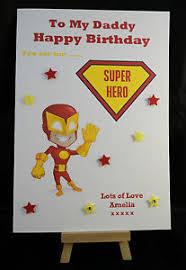 personalised handmade superhero happy birthday card daddy dad