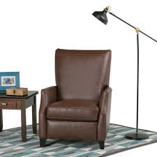sleek recliner simpli home noah brown air leather push arm recliner set of 1