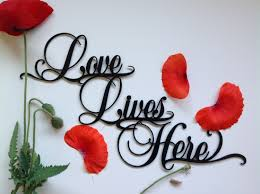 love lives here sign love wall art gift for her good vibes