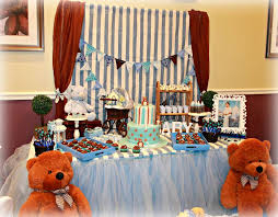 teddy baby shower ideas blue and brown teddy bears baby shower party ideas photo 1 of 27