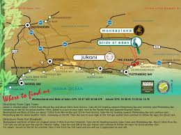 Port Elizabeth South Africa Map by Map Directions Monkeyland Primate Sanctuary Plettenberg Bay