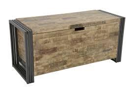 coffre de rangement chambre coffre bois recyclé blanchi et métal noirci 100x40x45cm docker