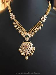 gold necklace with stones images 22k gold stone necklace with pearls south india jewels jpg