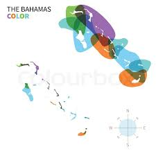 abstract vector color map of bahamas with transparent paint effect
