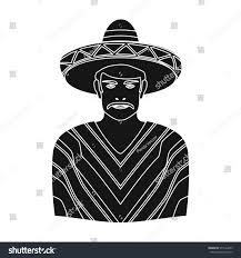 mexican man sombrero poncho icon black stock illustration