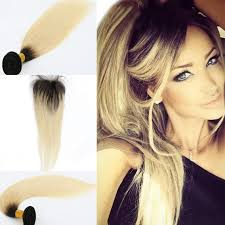 Skin Weft Seamless Hair Extensions by Cheap Brazilian Hair Weave With Closure Straight T Color Ombre 1b