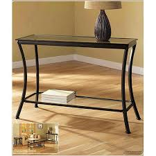 Table Glass Top Mendocino Console Table Metal U0026 Glass Walmart Com