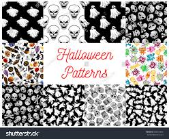 halloween seamless pattern ghost skull bat stock vector 486573856