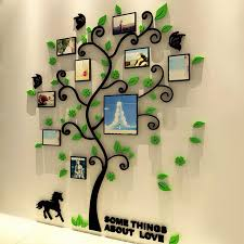 3d acrylic family tree wall stickers with photo frame living room 3d acrylic family tree wall stickers with photo frame living room green wall art decal home