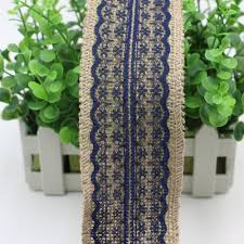 navy lace ribbon width 6cm jute burlap hessian ribbon with navy bluetrim lace