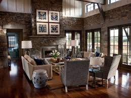 rustic western living room interior decor style custom home design classic western living room with stone walls image 2 of 18