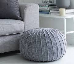 Knitted Ottoman Large Grey Floor Pouf Ottoman Knitted Pouf Knit Pouf
