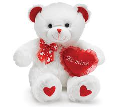 valentines day teddy bears best quality plush valentines day white teddy with heart