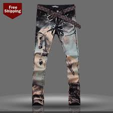spring fashion print color painted runway jean washing horse