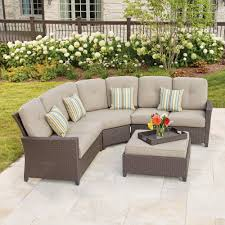 Hampton Bay Patio Furniture Cushions by Hampton Bay Tacana 4 Piece Wicker Patio Sectional Set With Beige