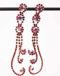 dramatic earrings multi color rhinestone dramatic earrings