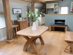 Round Dining Table Extends To Oval Cross Leg Kitchen Table Extending 6 Seater Oak Dining Table