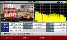 frequence cuisine écran spectre satellite avec vision et mesures de la chaines
