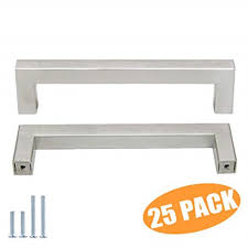 modern stainless steel kitchen cabinet pulls 25 pack probrico stainless steel modern kitchen cupboard handles 5 inch holes centers cabinet drawer pulls brushed nickel 55 inch total length