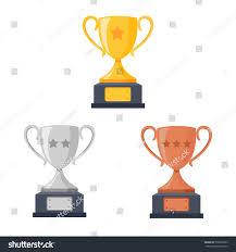 Trophy Pedestal Gold Silver Bronze Trophy Cup Goblet Stock Vector 730678399