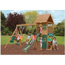 Backyard Playground Slides Big Backyard Windale Wooden Cedar Swing Set Walmart Com