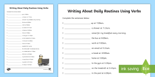 writing about daily routines using verbs worksheet verbs