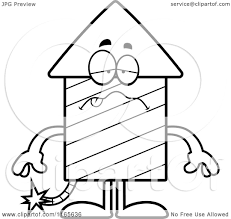 cartoon clipart of a sick rocket firework mascot vector outlined