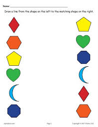 6 free shapes matching worksheets shapes worksheets printable