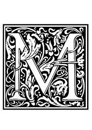coloring page ornamental alphabet m img 28648