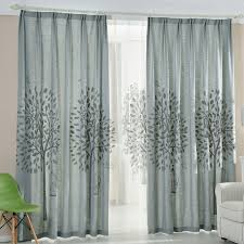 country living room curtains gray tree embroidery linen cotton blend country living room curtains