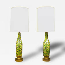 pair italian hand blown saffron green u0026 blue ribbed glass table lamps