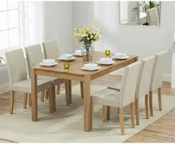 oxford 150cm solid oak dining table with mia fabric chairs the
