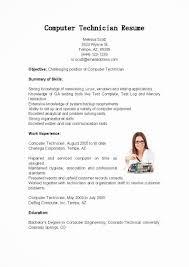 resume sample computer technician sample free download resumes