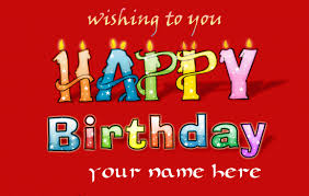 write your name on animated happy birthday cake with angel