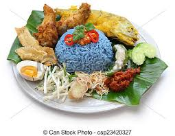 rice cuisine blue rice salad malaysian cuisine nasi kerabu blue color stock