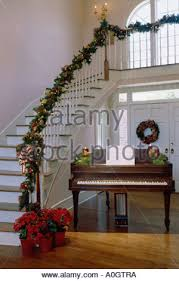 Christmas Decorations Banister Christmas Decorations On A Staircase Banister Stock Photo Royalty