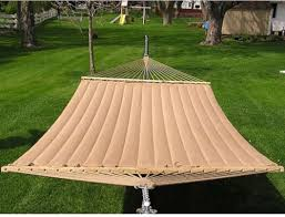 2 person brown quilted hammock double outdoor bed camping swing