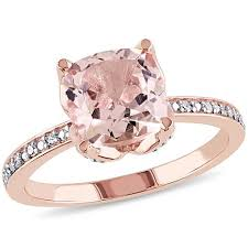 pink morganite 2 06ctw pink morganite and white diamond 10k gold cocktail
