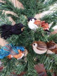 rustic yarn bird ornaments set of 4 handcrafted handmade